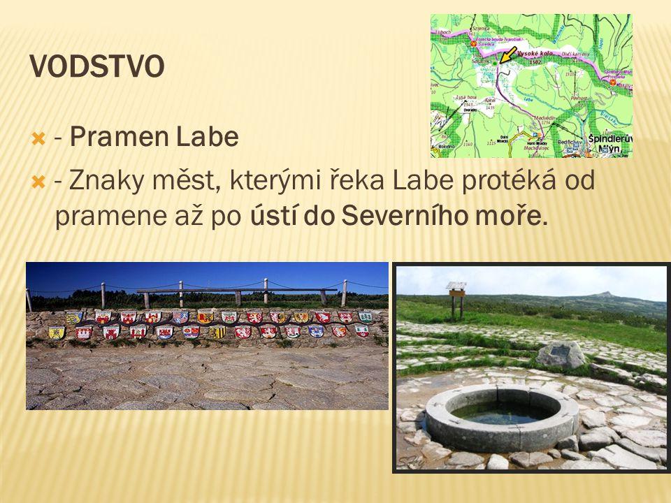 VODSTVO  - Pramen Labe  - Znaky měst, kterými řeka Labe protéká od pramene až po ústí do Severního moře.