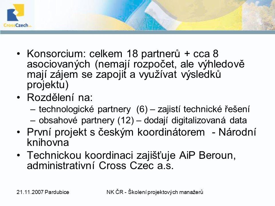 21.11.2007 PardubiceNK ČR - Školení projektových manažerů Konsorcium: celkem 18 partnerů + cca 8 asociovaných (nemají rozpočet, ale výhledově mají záj