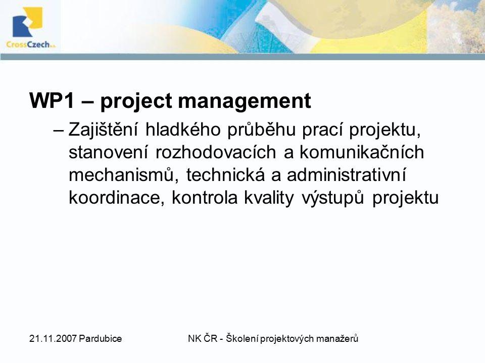 21.11.2007 PardubiceNK ČR - Školení projektových manažerů WP1 – project management –Zajištění hladkého průběhu prací projektu, stanovení rozhodovacích