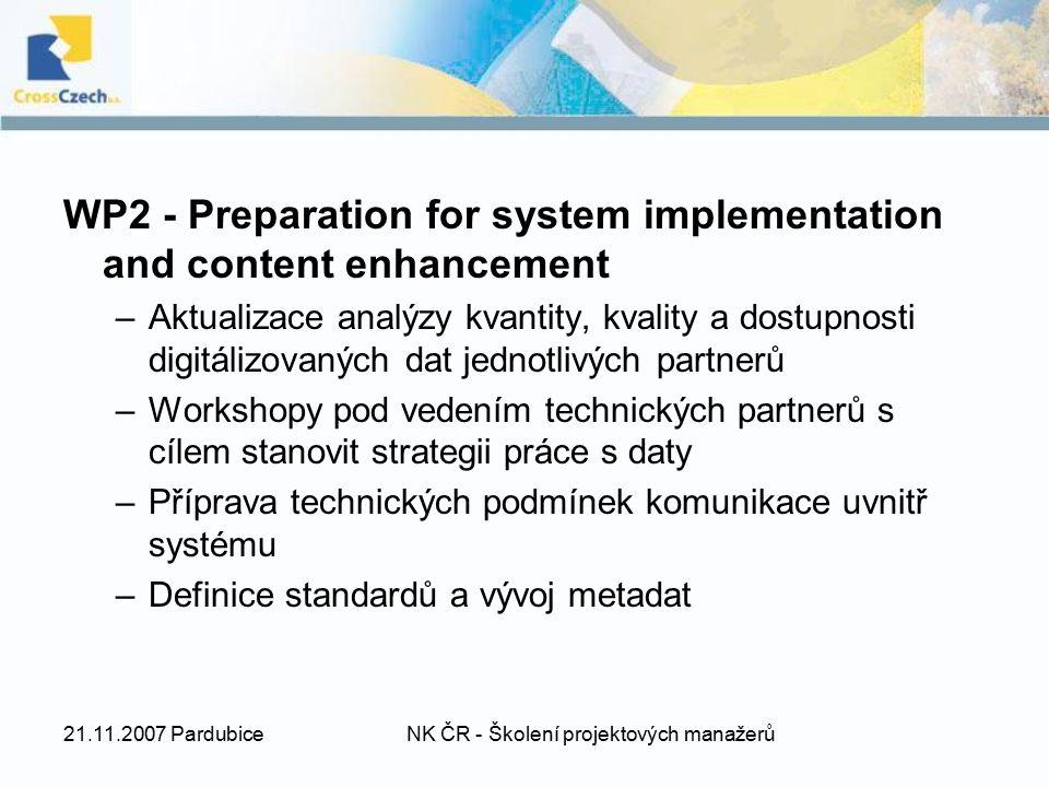 21.11.2007 PardubiceNK ČR - Školení projektových manažerů WP2 - Preparation for system implementation and content enhancement –Aktualizace analýzy kva