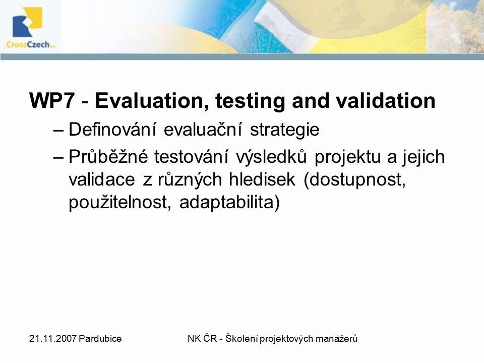 21.11.2007 PardubiceNK ČR - Školení projektových manažerů WP7 - Evaluation, testing and validation –Definování evaluační strategie –Průběžné testování výsledků projektu a jejich validace z různých hledisek (dostupnost, použitelnost, adaptabilita)