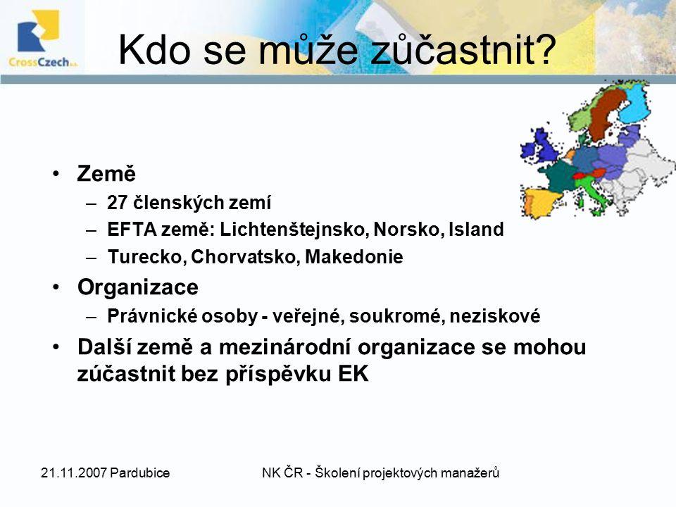 21.11.2007 PardubiceNK ČR - Školení projektových manažerů Kdo se může zůčastnit? Země –27 členských zemí –EFTA země: Lichtenštejnsko, Norsko, Island –
