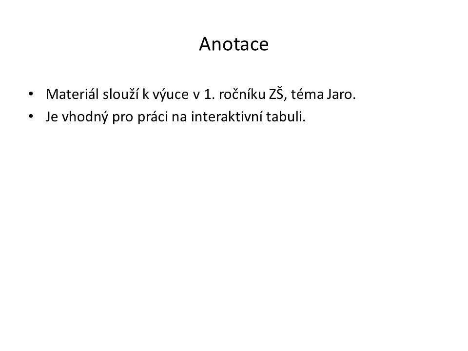 Anotace Materiál slouží k výuce v 1. ročníku ZŠ, téma Jaro. Je vhodný pro práci na interaktivní tabuli.