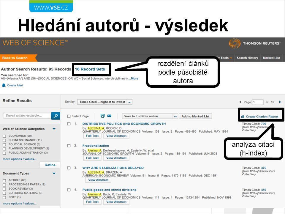 Hledání autorů - výsledek analýza citací (h-index) rozdělení článků podle působiště autora