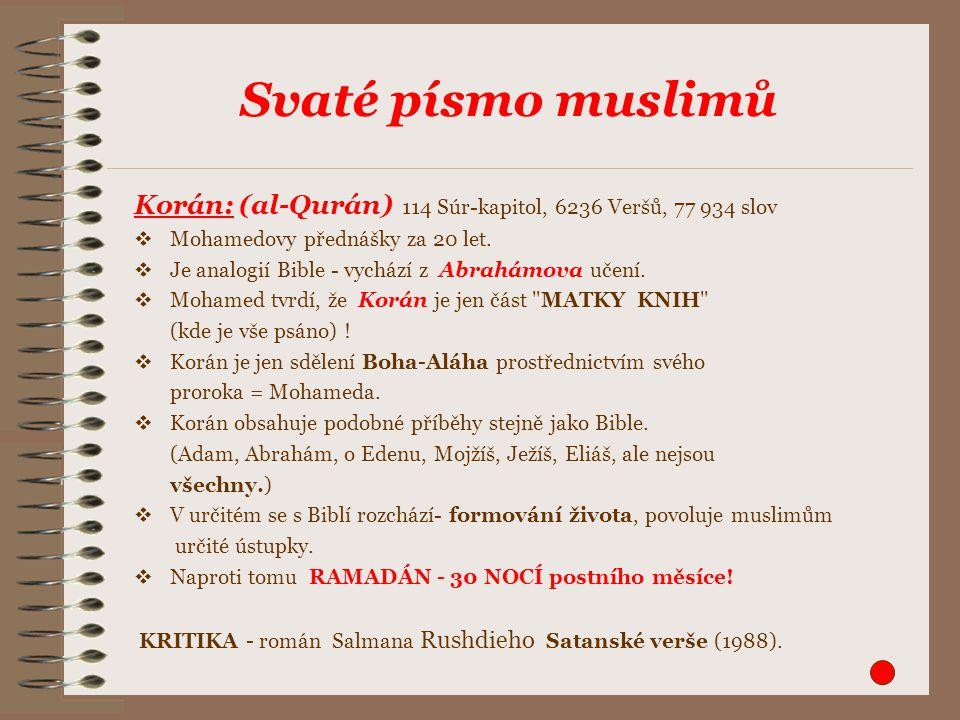 Korán: (al-Qurán) 114 Súr-kapitol, 6236 Veršů, 77 934 slov  Mohamedovy přednášky za 20 let.