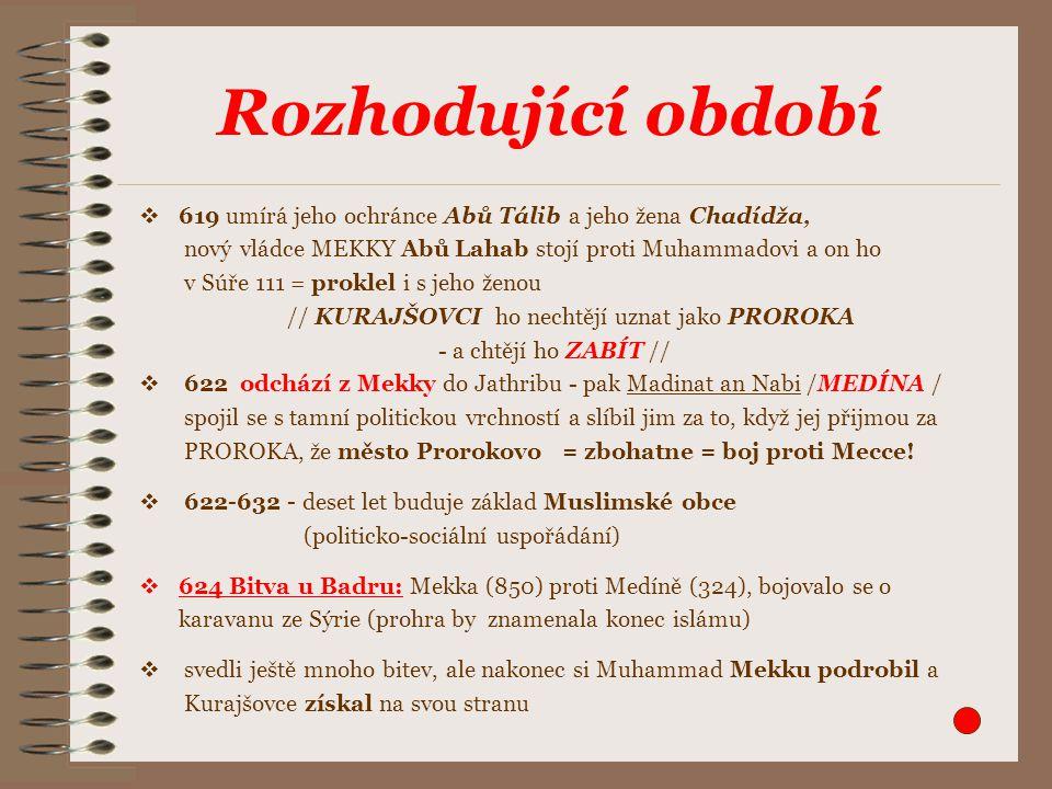  619 umírá jeho ochránce Abů Tálib a jeho žena Chadídža, nový vládce MEKKY Abů Lahab stojí proti Muhammadovi a on ho v Súře 111 = proklel i s jeho ženou // KURAJŠOVCI ho nechtějí uznat jako PROROKA - a chtějí ho ZABÍT //  622 odchází z Mekky do Jathribu - pak Madinat an Nabi /MEDÍNA / spojil se s tamní politickou vrchností a slíbil jim za to, když jej přijmou za PROROKA, že město Prorokovo = zbohatne = boj proti Mecce.