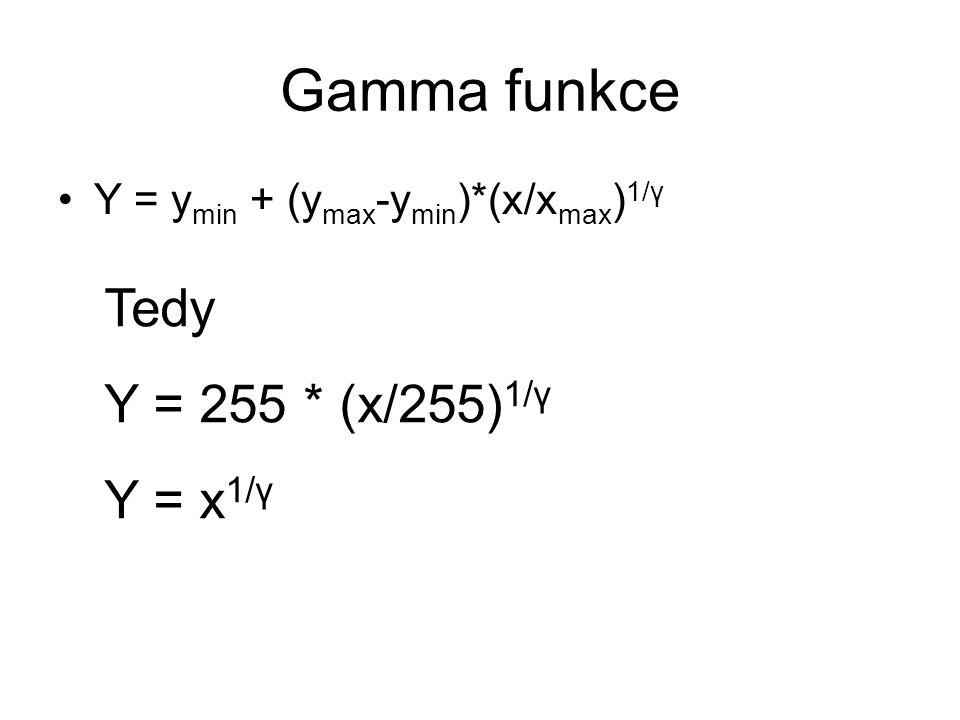 Gamma funkce Tedy Y = 255 * (x/255) 1/γ Y = x 1/γ Y = y min + (y max -y min )*(x/x max ) 1/γ