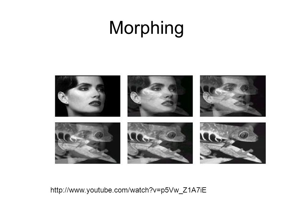 Morphing http://www.youtube.com/watch v=p5Vw_Z1A7iE