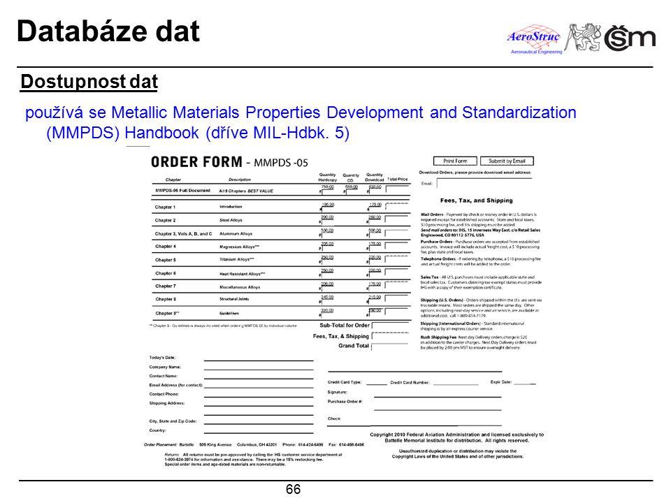 66 Databáze dat používá se Metallic Materials Properties Development and Standardization (MMPDS) Handbook (dříve MIL-Hdbk. 5) Dostupnost dat