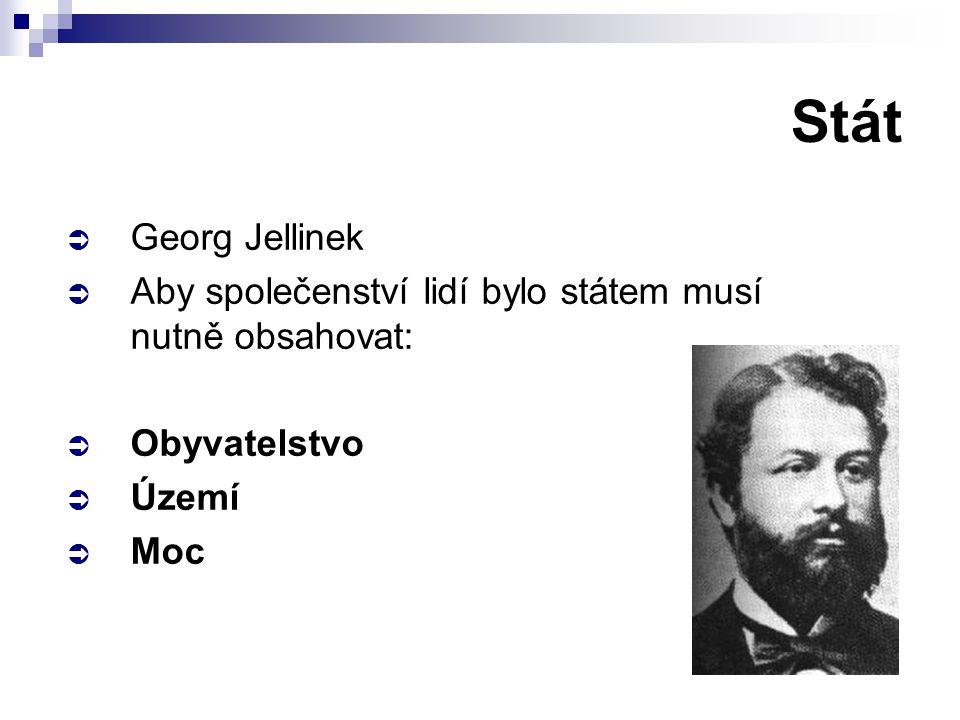 Stát  Georg Jellinek  Aby společenství lidí bylo státem musí nutně obsahovat:  Obyvatelstvo  Území  Moc