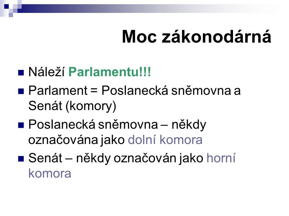 Moc zákonodárná Náleží Parlamentu!!! Parlament = Poslanecká sněmovna a Senát (komory) Poslanecká sněmovna – někdy označována jako dolní komora Senát –