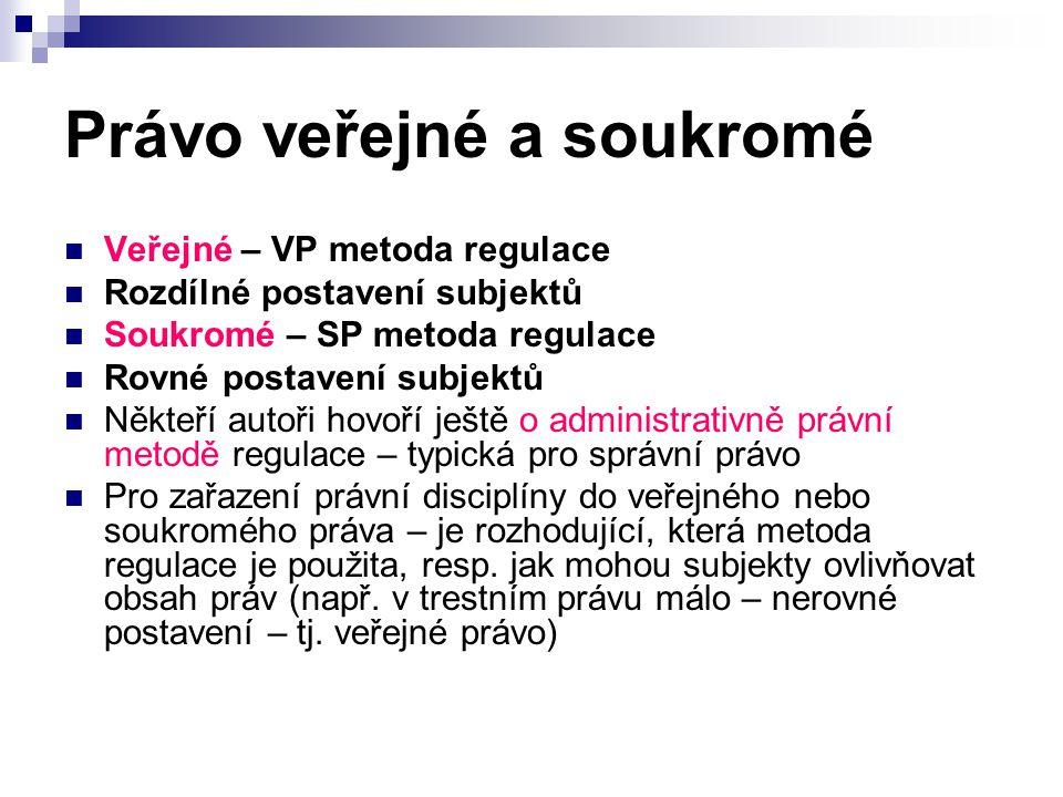 Právo veřejné a soukromé Veřejné Ústavní Trestní Finanční Správní aj.