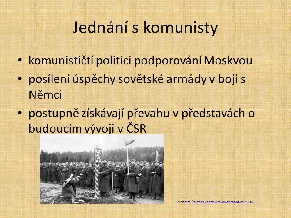 Jednání s komunisty komunističtí politici podporování Moskvou posíleni úspěchy sovětské armády v boji s Němci postupně získávají převahu v představách