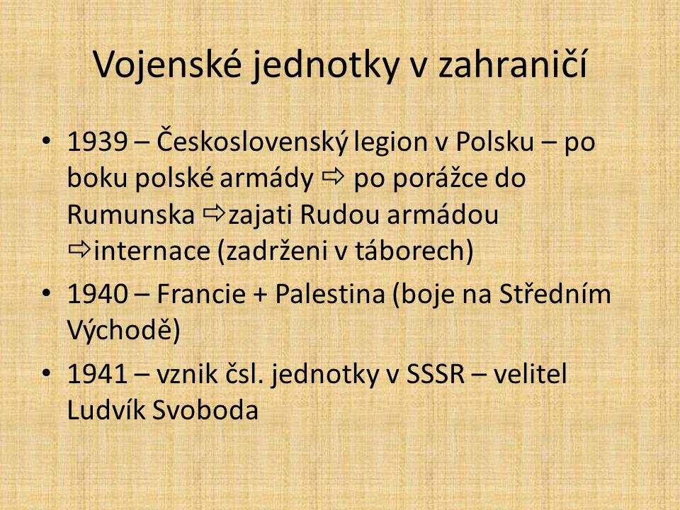 Vojenské jednotky v zahraničí 1939 – Československý legion v Polsku – po boku polské armády  po porážce do Rumunska  zajati Rudou armádou  internac