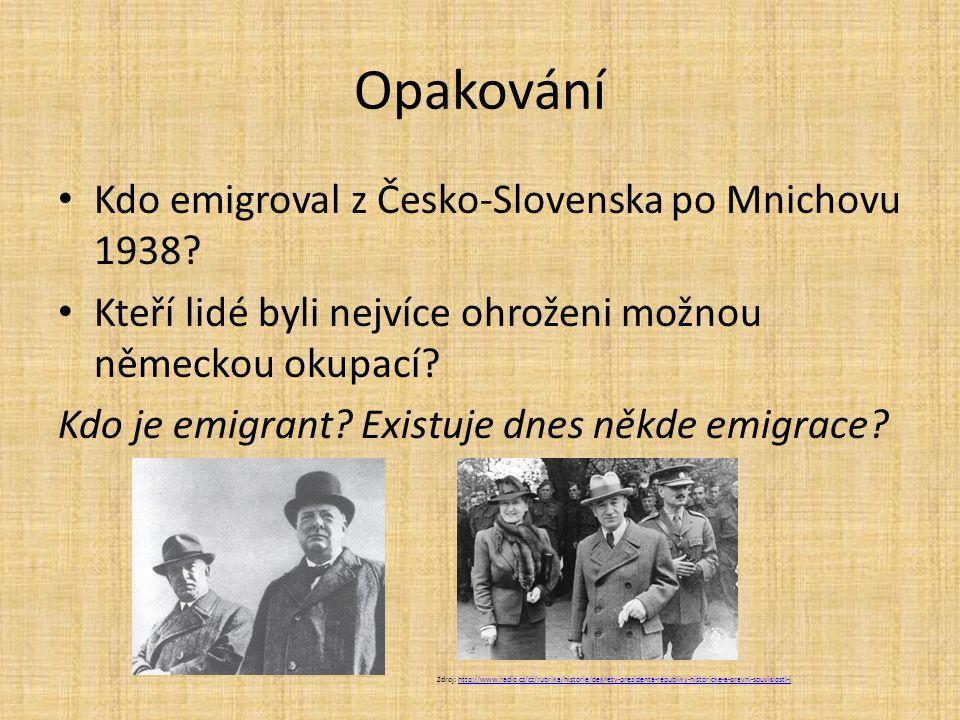 Opakování Kdo emigroval z Česko-Slovenska po Mnichovu 1938? Kteří lidé byli nejvíce ohroženi možnou německou okupací? Kdo je emigrant? Existuje dnes n
