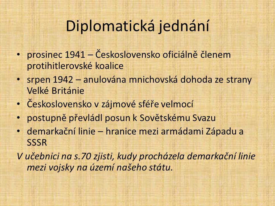 Diplomatická jednání prosinec 1941 – Československo oficiálně členem protihitlerovské koalice srpen 1942 – anulována mnichovská dohoda ze strany Velké