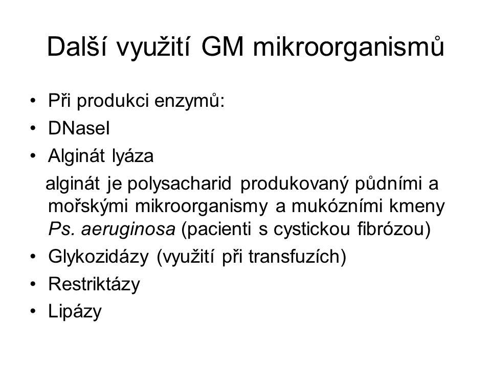 Další využití GM mikroorganismů Při produkci enzymů: DNaseI Alginát lyáza alginát je polysacharid produkovaný půdními a mořskými mikroorganismy a mukó