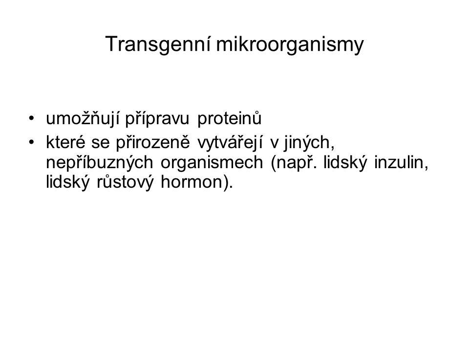 Transgenní mikroorganismy umožňují přípravu proteinů které se přirozeně vytvářejí v jiných, nepříbuzných organismech (např. lidský inzulin, lidský růs