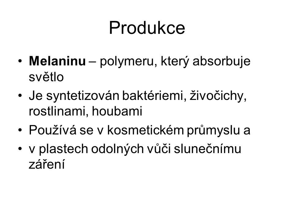 Produkce Melaninu – polymeru, který absorbuje světlo Je syntetizován baktériemi, živočichy, rostlinami, houbami Používá se v kosmetickém průmyslu a v