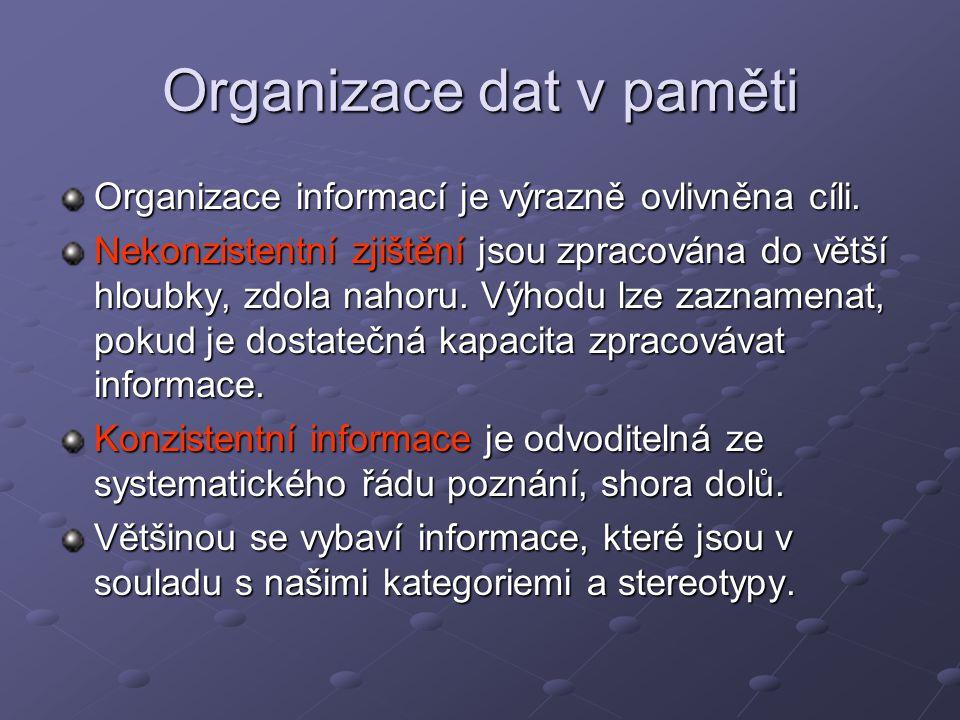 Organizace dat v paměti Organizace informací je výrazně ovlivněna cíli. Nekonzistentní zjištění jsou zpracována do větší hloubky, zdola nahoru. Výhodu