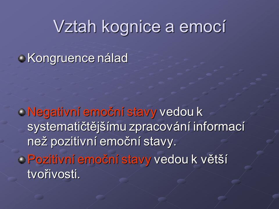 Vztah kognice a emocí Kongruence nálad Negativní emoční stavy vedou k systematičtějšímu zpracování informací než pozitivní emoční stavy. Pozitivní emo