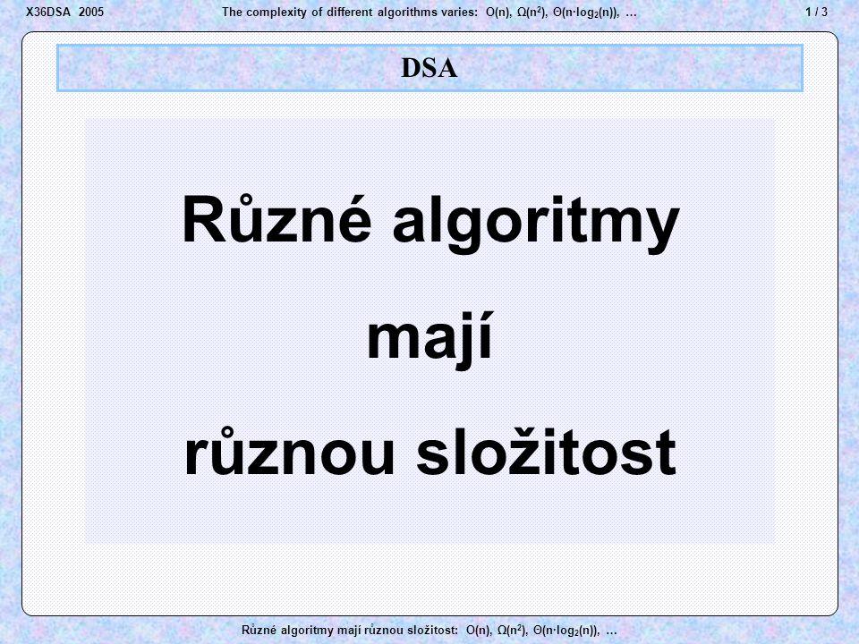 12 / 3The complexity of different algorithms varies: O(n), Ω(n 2 ), Θ(n·log 2 (n)), … Různé algoritmy mají různou složitost: O(n), Ω(n 2 ), Θ(n·log 2 (n)), … Repair a heap Top removed II (1) B B D D E E J J M M K K O O R R T T Z Z U U D D J J M M K K O O R R T T Z Z U U E E R > J, R > D, D < J A A remove top 1 last first → 2 1  Swap D ↔ R insert top 3 B B A A X36DSA 2005