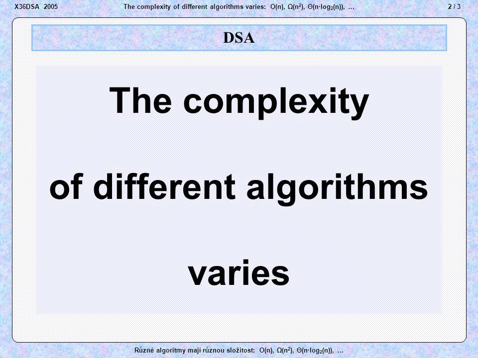 23 / 3The complexity of different algorithms varies: O(n), Ω(n 2 ), Θ(n·log 2 (n)), … Různé algoritmy mají různou složitost: O(n), Ω(n 2 ), Θ(n·log 2 (n)), … Heap sort A A B B D D E E J J M M K K O O R R T T U U Z Z Heap A A B B D D E E J J M M K K O O R R T T U U Z Z 1 2 3 4 5 6 7 8 9 10 11 12 A A B B D D E E J J M M K K O O R R T T U U Z Z A A B B D D E E J J M M K K O O R R T T U U Z Z heap Step 1 X36DSA 2005