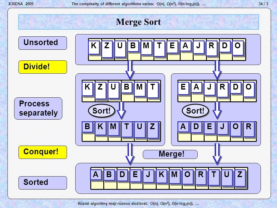 Process separatel y Sorted 34 / 3The complexity of different algorithms varies: O(n), Ω(n 2 ), Θ(n·log 2 (n)), … Různé algoritmy mají různou složitost: O(n), Ω(n 2 ), Θ(n·log 2 (n)), … Merge Sort A A B B D D E E J J K K M M O O R R T T U U Z Z A A B B D D E E J J K K M M O O R R T T U U Z Z B B K K M M T T U U Z Z A A D D E E J J O O R R A A B B D D E E J J M M K K O O R R T T U U Z Z Unsorted Divide.