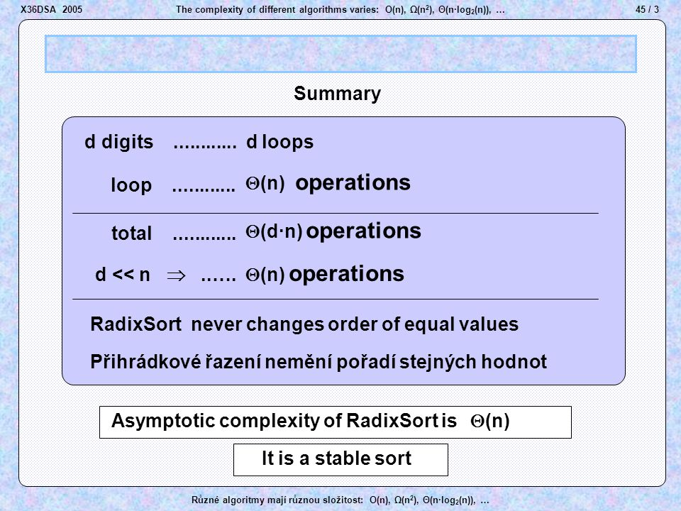 45 / 3The complexity of different algorithms varies: O(n), Ω(n 2 ), Θ(n·log 2 (n)), … Různé algoritmy mají různou složitost: O(n), Ω(n 2 ), Θ(n·log 2 (n)), … d digits............