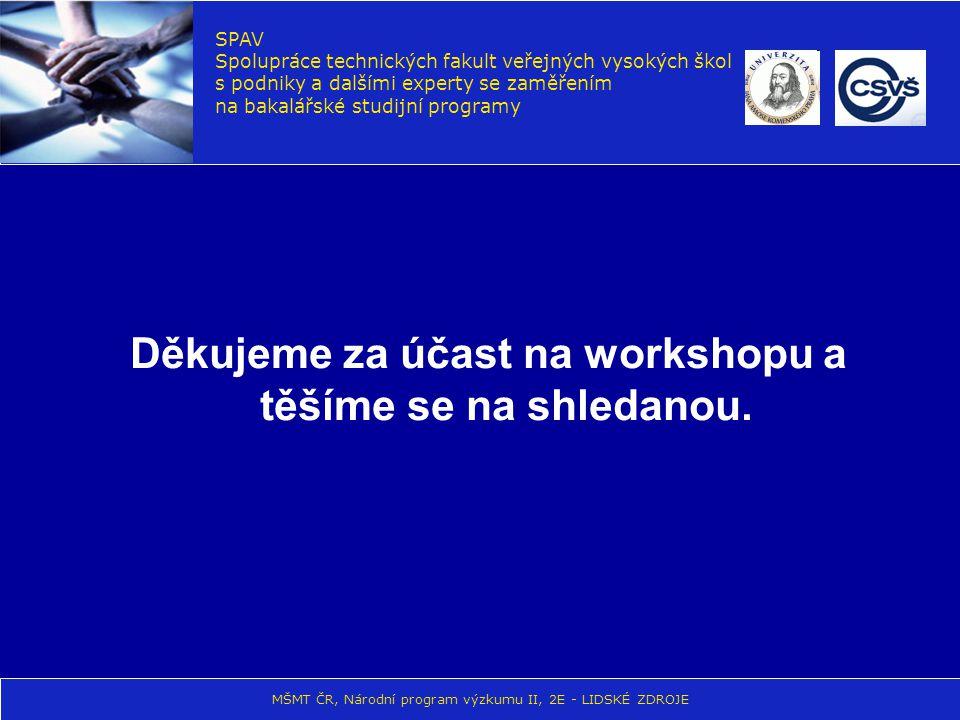 Děkujeme za účast na workshopu a těšíme se na shledanou. SPAV Spolupráce technických fakult veřejných vysokých škol s podniky a dalšími experty se zam