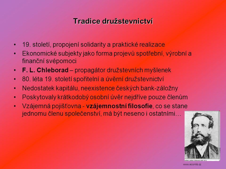 Tradice družstevnictví 19. století, propojení solidarity a praktické realizace Ekonomické subjekty jako forma projevů spotřební, výrobní a finanční sv