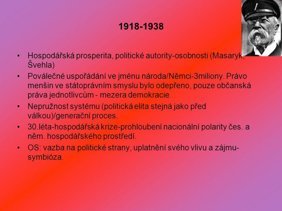 1918-1938 Hospodářská prosperita, politické autority-osobnosti (Masaryk, Švehla) Poválečné uspořádání ve jménu národa/Němci-3miliony.