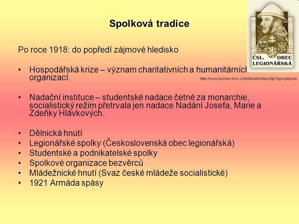 Spolková tradice Po roce 1918: do popředí zájmové hledisko Hospodářská krize – význam charitativních a humanitárních organizací. Nadační instituce – s