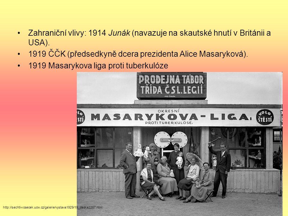 Zahraniční vlivy: 1914 Junák (navazuje na skautské hnutí v Británii a USA). 1919 ČČK (předsedkyně dcera prezidenta Alice Masaryková). 1919 Masarykova
