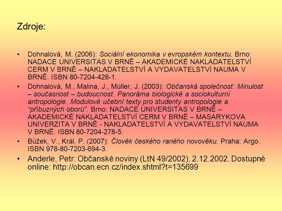 Zdroje: Dohnalová, M. (2006): Sociální ekonomika v evropském kontextu. Brno: NADACE UNIVERSITAS V BRNĚ – AKADEMICKÉ NAKLADATELSTVÍ CERM V BRNĚ – NAKLA