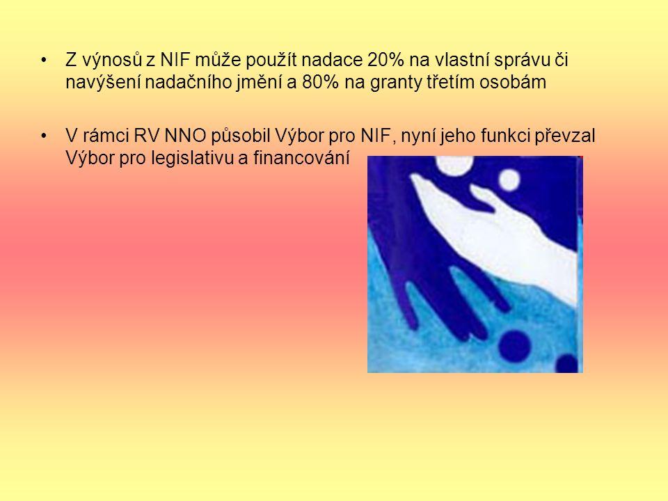 Z výnosů z NIF může použít nadace 20% na vlastní správu či navýšení nadačního jmění a 80% na granty třetím osobám V rámci RV NNO působil Výbor pro NIF