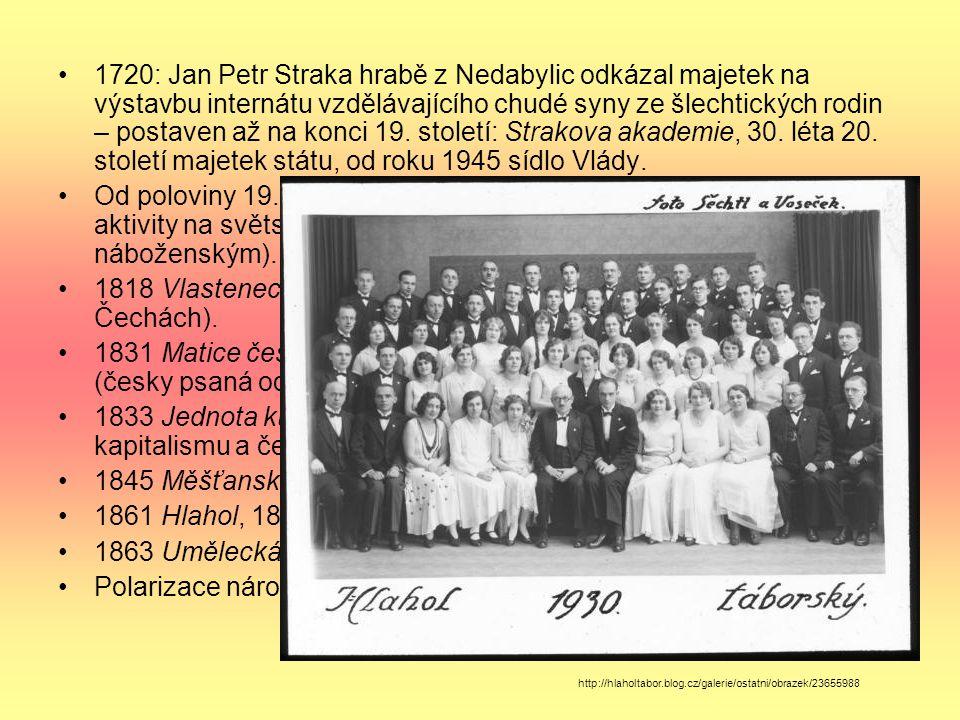 1720: Jan Petr Straka hrabě z Nedabylic odkázal majetek na výstavbu internátu vzdělávajícího chudé syny ze šlechtických rodin – postaven až na konci 1