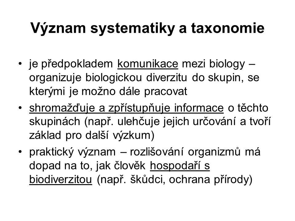 Význam systematiky a taxonomie je předpokladem komunikace mezi biology – organizuje biologickou diverzitu do skupin, se kterými je možno dále pracovat shromažďuje a zpřístupňuje informace o těchto skupinách (např.