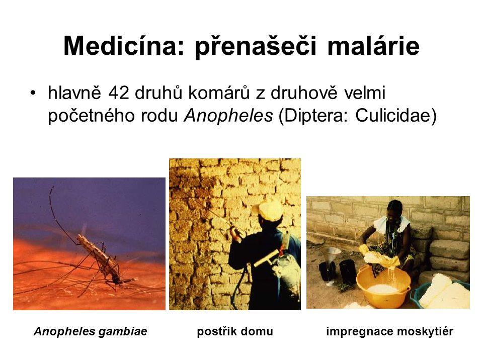 Medicína: přenašeči malárie hlavně 42 druhů komárů z druhově velmi početného rodu Anopheles (Diptera: Culicidae) Anopheles gambiaepostřik domuimpregnace moskytiér
