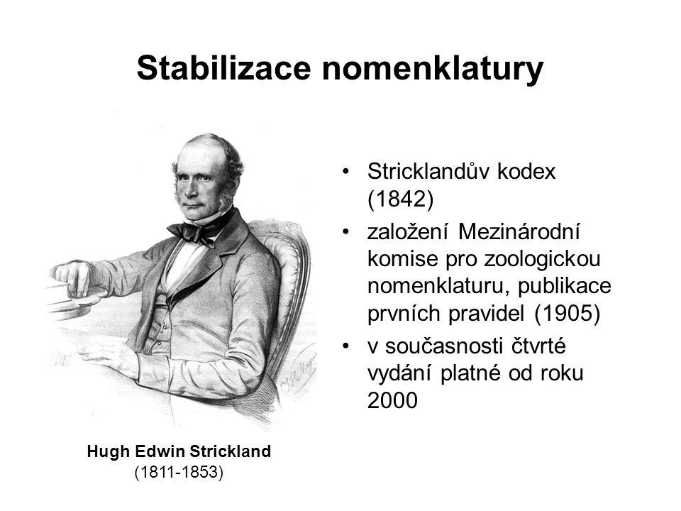 Stabilizace nomenklatury Stricklandův kodex (1842) založení Mezinárodní komise pro zoologickou nomenklaturu, publikace prvních pravidel (1905) v současnosti čtvrté vydání platné od roku 2000 Hugh Edwin Strickland (1811-1853)