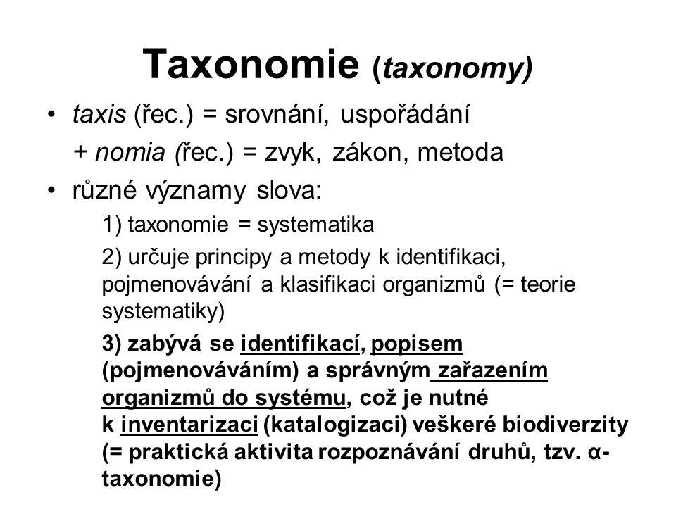 Taxonomie (taxonomy) taxis (řec.) = srovnání, uspořádání + nomia (řec.) = zvyk, zákon, metoda různé významy slova: 1) taxonomie = systematika 2) určuje principy a metody k identifikaci, pojmenovávání a klasifikaci organizmů (= teorie systematiky) 3) zabývá se identifikací, popisem (pojmenováváním) a správným zařazením organizmů do systému, což je nutné k inventarizaci (katalogizaci) veškeré biodiverzity (= praktická aktivita rozpoznávání druhů, tzv.
