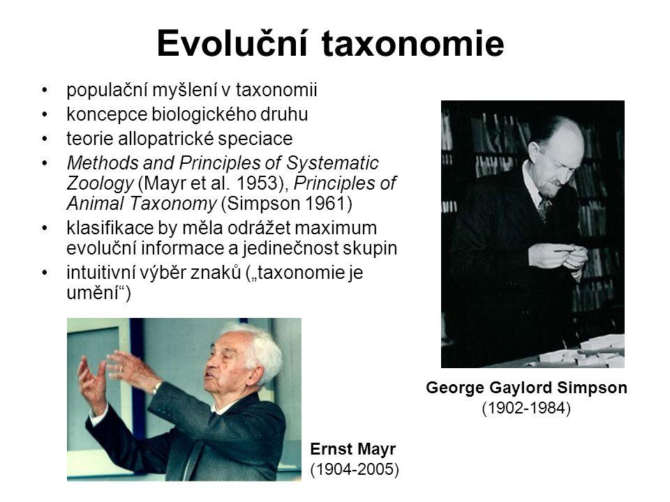 Evoluční taxonomie populační myšlení v taxonomii koncepce biologického druhu teorie allopatrické speciace Methods and Principles of Systematic Zoology (Mayr et al.