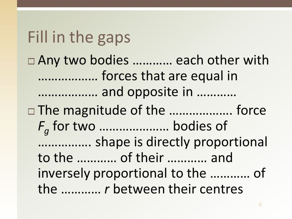 9 Gravitational acceleration  At the surface: