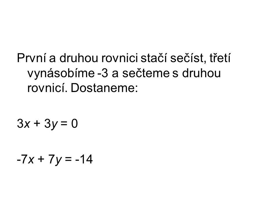 První a druhou rovnici stačí sečíst, třetí vynásobíme -3 a sečteme s druhou rovnicí.
