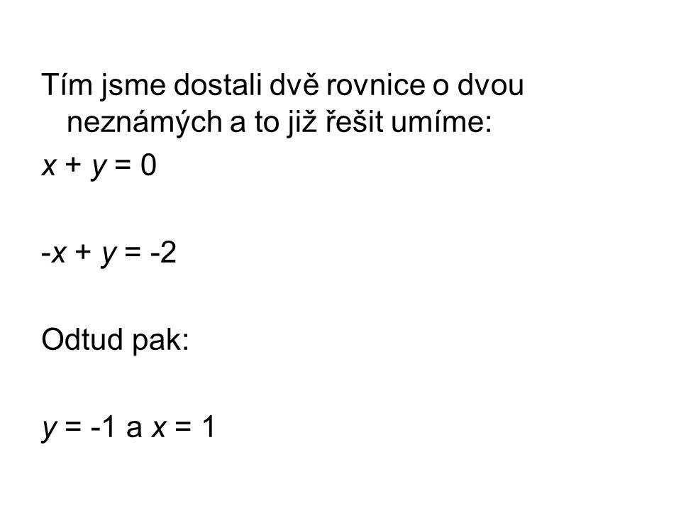 Tím jsme dostali dvě rovnice o dvou neznámých a to již řešit umíme: x + y = 0 -x + y = -2 Odtud pak: y = -1 a x = 1