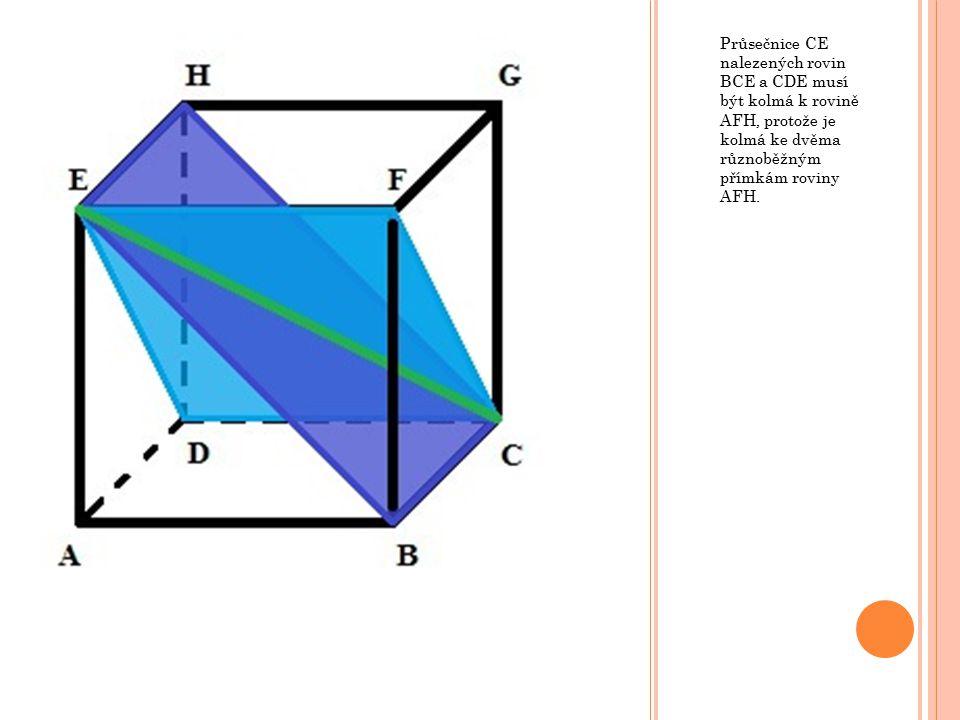 Průsečnice CE nalezených rovin BCE a CDE musí být kolmá k rovině AFH, protože je kolmá ke dvěma různoběžným přímkám roviny AFH.