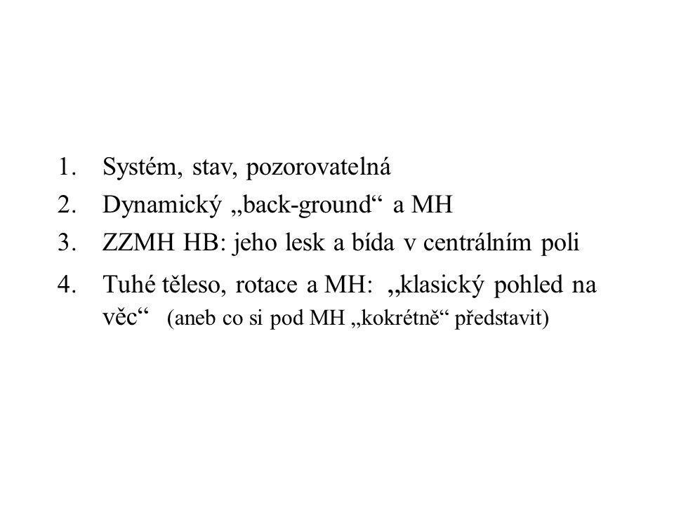 """1.Systém, stav, pozorovatelná 2.Dynamický """"back-ground"""" a MH 3.ZZMH HB: jeho lesk a bída v centrálním poli 4.Tuhé těleso, rotace a MH: """" klasický pohl"""