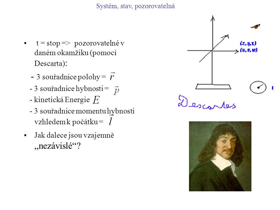 """t = stop => pozorovatelné v daném okamžiku (pomocí Descarta) : - 3 souřadnice polohy = - 3 souřadnice hybnosti = - kinetická Energie - 3 souřadnice momentu hybnosti vzhledem k počátku = Jak dalece jsou vzajemně """"nezávislé ."""