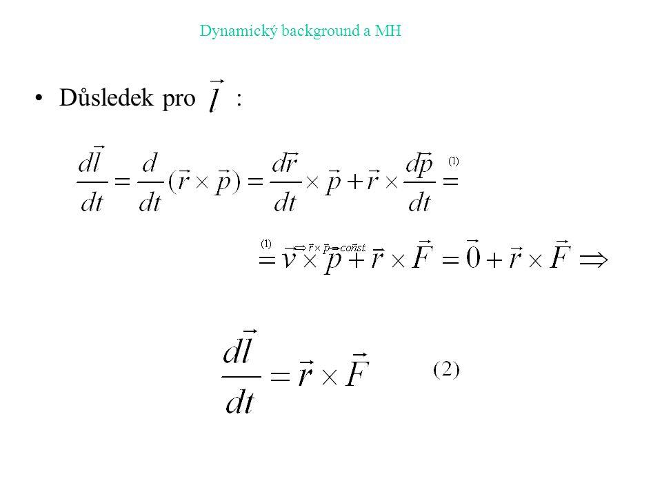 Důsledek pro : Dynamický background a MH