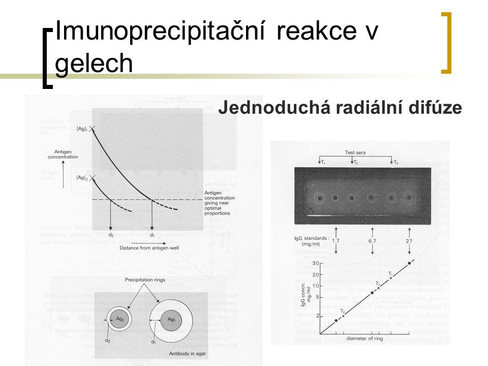 Imunoprecipitační reakce v gelech Jednoduchá radiální difúze